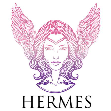 hermes: Vector illustration of the Greek god Hermes in the form of a woman. The girl goddess, Mercury with wings. Hand-drawn vintage linear tattoo design. Isolated vector art.
