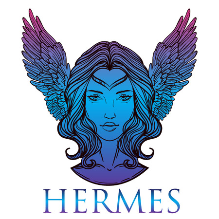 Vector illustration of the Greek god Hermes in the form of a woman. The girl goddess, Mercury with wings. Hand-drawn vintage linear tattoo design. Isolated vector art.