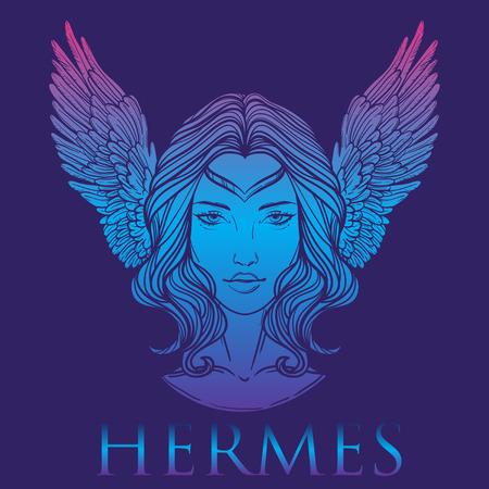 Ilustración del vector del dios griego Hermes en la forma de una mujer. La diosa niña, Mercury con alas. Dibujados a mano diseño del tatuaje lineal de la vendimia. arte vectorial aislado.