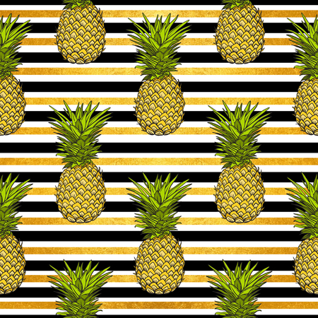 pineapple tropical vector seamless pattern and gold stripes. textile print fashion seamless illustration . print in the style retro of 80s.