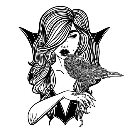 Vampire Girl with hand raven Line Art. Hand drawn vector illustration. Black line on white background. Cartoon style. Could be used as design for coloring book or as part of Halloween decor.