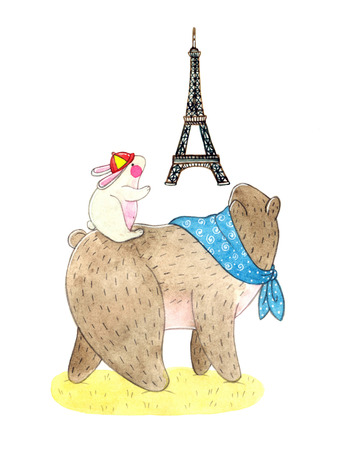 watercolor illustration of a cute teddy bear and bunny and national symbol of France Eiffel Tower. childrens book illustration