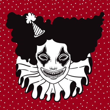 Affiche de vecteur avec un clown maléfique. illustration linéaire de Halloween. effrayant de clown fou d'horreur Banque d'images - 64431145