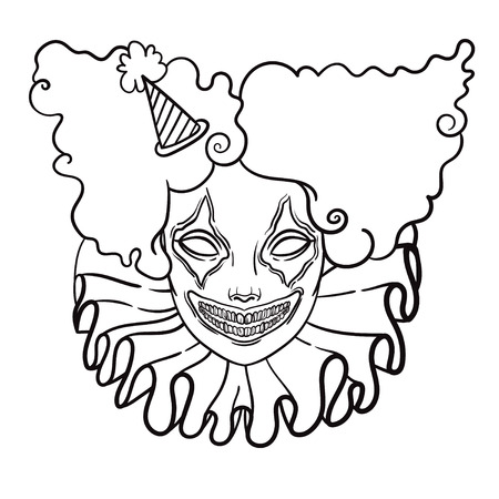 maniac: vector poster with an evil clown. linear illustration of Halloween. scary clown maniac of horror