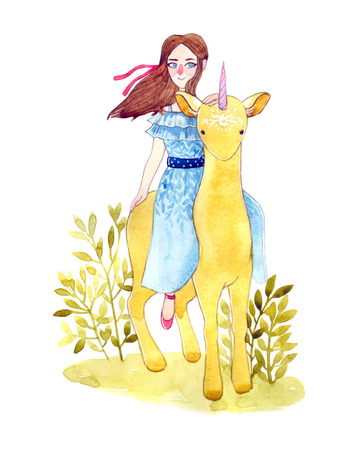 nymph: beautiful watercolor illustration of a forest nymph, and the spirit of the forest with deer horn. fantasy cute baby card