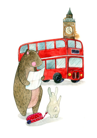 watercolor illustration of a cute teddy bear and bunny and symbol of England a large clock tower Big Ben and red bus. childrens book illustration Stock Photo