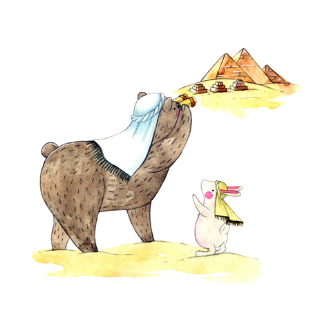 giza: watercolor illustration of a cute teddy bear and bunny and Desert in Egypt and the Great Pyramid of Giza. childrens book illustration