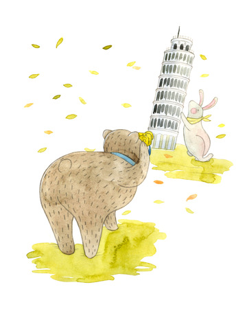 leaning tower of pisa: watercolor illustration of a cute teddy bear and bunny and a Leaning Tower of Pisa, Italy. childrens book illustration