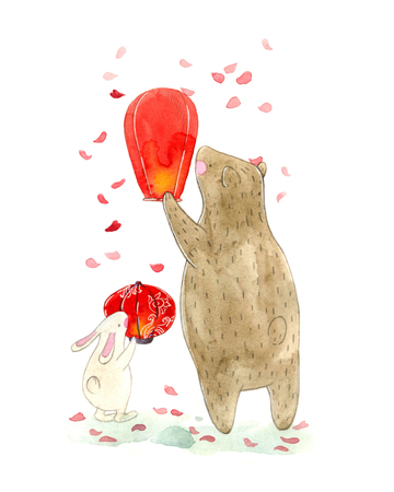 watercolor illustration of a cute teddy bear and bunny and Asian paper lantern and sakura petals. childrens book illustration