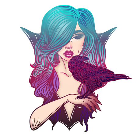 crows: Vampire Girl and crows. Line Art. Luxury girl in pin-up style. Hand drawn illustration. Cartoon style.