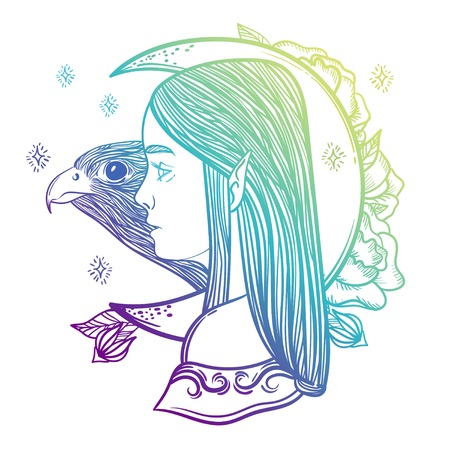 Fancy girl elf, magical month and a falcon. Linear imaginary illustration - print.
