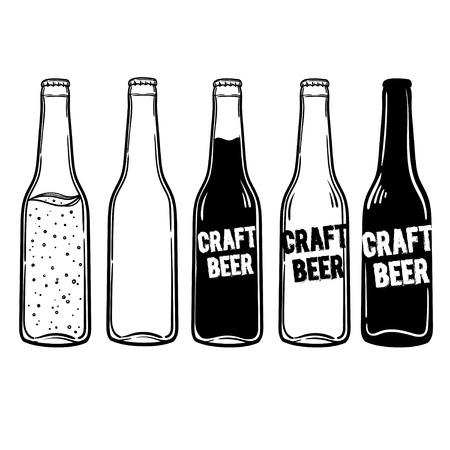 vector set of bottles of beer or soda. Inscriptions can be replaced. Perfect for a menu in a restaurant or bar.