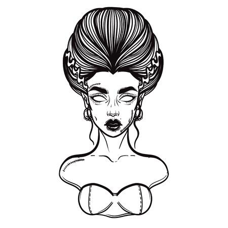 The bride of Frankenstein Girl Line Art. Hand drawn vector illustration. Girl in Halloween costumes