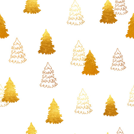 phytology: Vector seamless pattern with New Year, gold Christmas trees. Abstract background. Winter illustration. Illustration