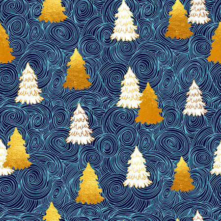 phytology: Vector seamless pattern with New Year, gold Christmas trees. Abstract background. Winter illustration. Snowstorm