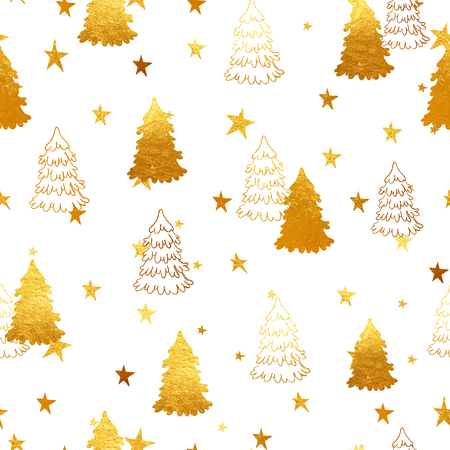 gold christmas background: Vector seamless pattern with New Year, gold Christmas trees and magic stars. Abstract background. Winter illustration.