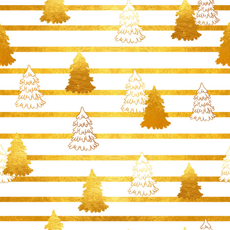 Vector seamless pattern with New Year, gold Christmas trees and stripes. Abstract background. Winter illustration.