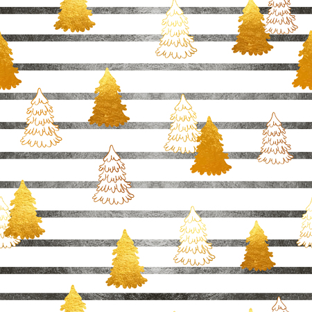 phytology: Vector seamless pattern with New Year, gold Christmas trees and stripes. Abstract background. Winter illustration.