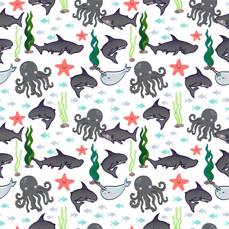 Unicorn fish: vector seamless pattern with cute sharks, fish, octopus, narwhal, star, seaweed.