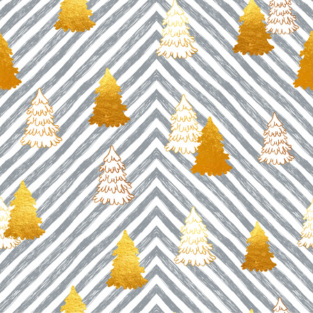 phytology: Vector seamless pattern with New Year, gold Christmas trees and stripes.  Winter illustration. Illustration