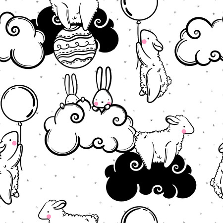 spring summer: Cute vector seamless pattern of animals children, rabbits, sheep, balls and clouds and silver stars confetti