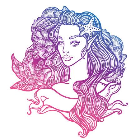 tarjeta linda del arte del vector con sirenita princesa. Chica con estrellas de mar en el pelo y con flores de peonía en el fondo. Ilustración de tatuaje lineal