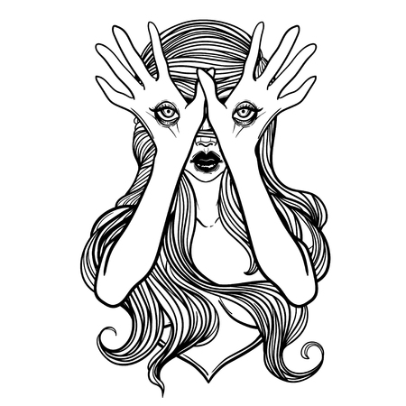 Mysterious monster girl with eyes on the hands. Hand drawn vector illustration. Tattoo style. Could be used as design for coloring book or as part of Halloween decor. Illustration