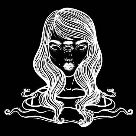Portrait of mystic girl with three eyes. Vector illustration of a witch mutant. Monster with three eyes.  イラスト・ベクター素材