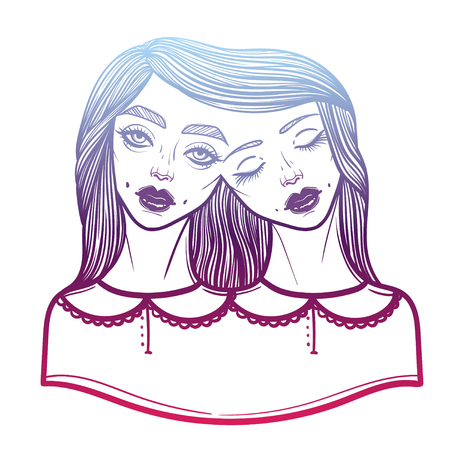 Portrait of mystic Siamese twins. Vector illustration of a Siamese twins mutant.