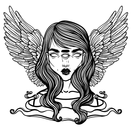 Portrait of mystic angel or demon of death in the form of a girl with three eyes. Vector illustration of a girl mutant. The oracle with three all-seeing eye. linear tattoo illustration