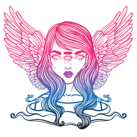 angel of death: Portrait of mystic angel or demon of death in the form of a girl with three eyes. Vector illustration of a girl mutant. The oracle with three all-seeing eye. linear tattoo illustration