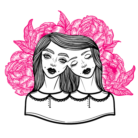 Portrait of mystic Siamese twins and a bouquet of peonies in the background. Vector illustration of a Siamese twins mutant. linear tattoo illustration