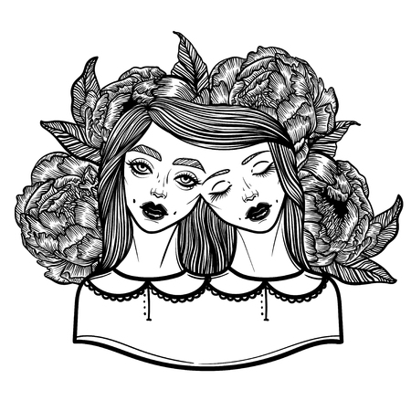 siamese: Portrait of mystic Siamese twins and a bouquet of peonies in the background. Vector illustration of a Siamese twins mutant. linear tattoo illustration