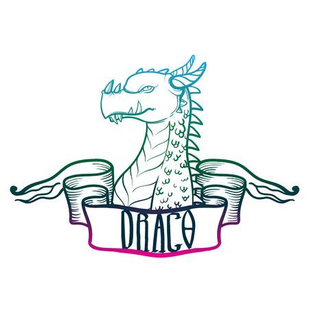 vector dragon head. fantastic dragon lizard. fantastic beast. Illustration