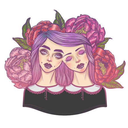 Portrait of mystic Siamese twins and a bouquet of peonies in the background. illustration of a Siamese twins mutant. linear tattoo illustration