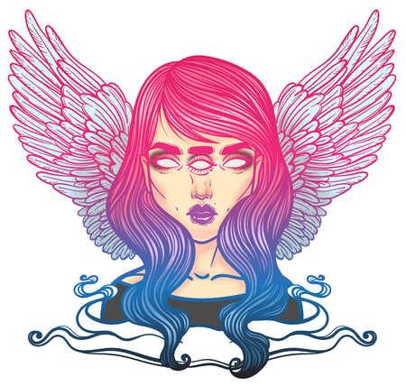 神秘的な天使や 3 つの目を持つ少女の形で死の悪魔の肖像画。女の子の突然変異体、セーラム魔女のイラスト。3 つすべてを見通す目を持つ oracle。