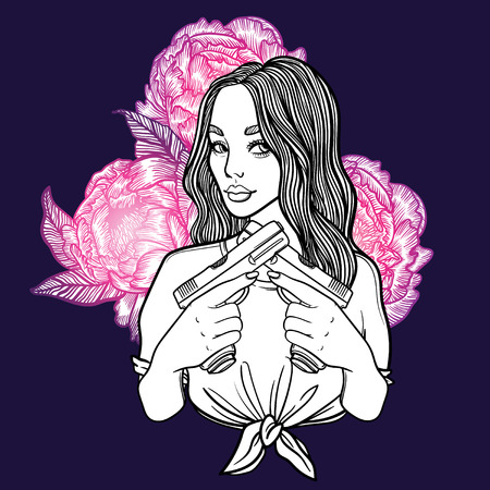 fatale: criminal beautiful girl with two guns and flowers peonies. vector illustration with sexy girl, tattoo style. line art. gang with weapons. mafia.