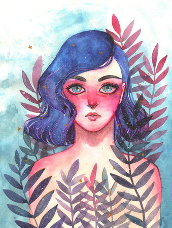 Unearthly supernatural girl with blue hair. Watercolor illustration of a fairy in the woods. Woman in fern bushes. Cartoon cute little girl. Childrens illustration. Stock Photo