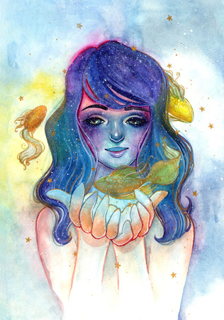 Unearthly supernatural girl with blue hair. Watercolor illustration of a fairy with goldfish. Goldfish and gold stars. Cartoon cute little girl. Childrens illustration. Stock Photo