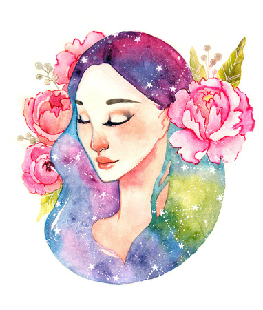 enchantress: Unearthly supernatural girl with space in the hair. Watercolor illustration of a fairy with peony and stars. Virgo constellation. Cartoon cute little girl. Childrens illustration.