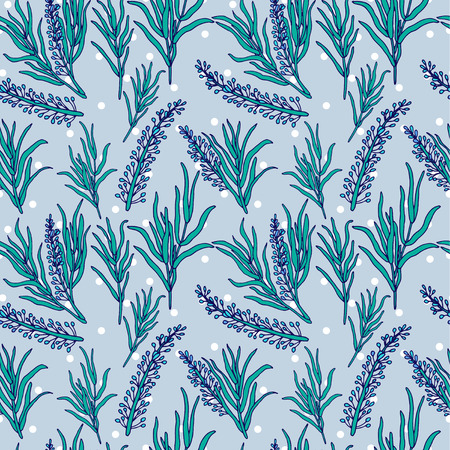 provence: Botanical vector seamless pattern with French lavender Provence and rosemary. You can change the background color Illustration