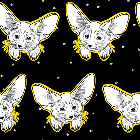 silver fox: Seamless pattern with cute fox animal and silver stars. Little fox Fennec. Children linear illustration. To print T-shirts, bags or cover. Illustration