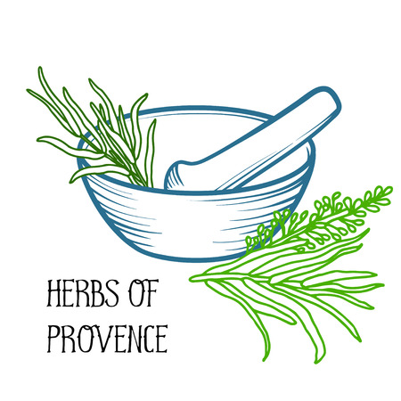 Mortier en een stamper. Lineaire logo afbeelding. Kookgerei. De kruiden te bereiden. Kruiden van de Provence. Rozemarijn en lavendel.