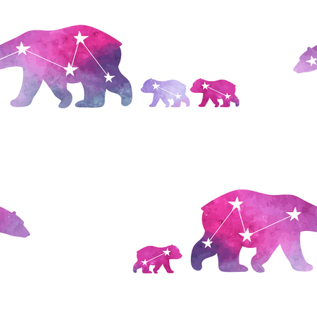 family constellation: Cute seamless pattern with watercolor winter polar bear. Mother and her child. Constellation bears. Cute children pattern. Perfect for background paper or textiles. Illustration
