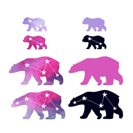 family constellation: Cute icons with watercolor winter polar bear and constellations. Mother and her child. Cute children pattern. Perfect for print paper or textiles.