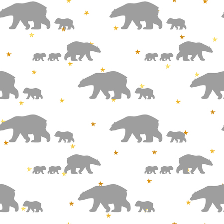 Cute seamless pattern with winter polar bear and confetti golden stars. Mother and her child. Cute children pattern. Perfect for background paper or textiles.