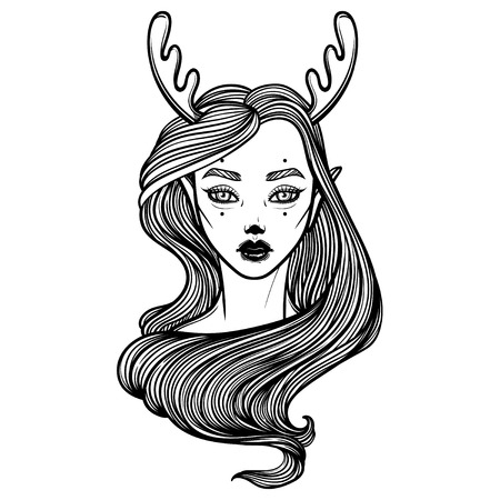 Illustration with beautiful girl Dryad. Mythical female deer. Tattoo print, coloring books or print clothes.