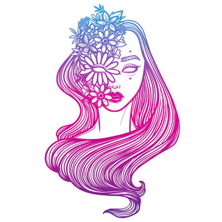 Illustration with beautiful girl Dryad. Mythical female with floral mask. Tattoo print, coloring books or print clothes. Illustration