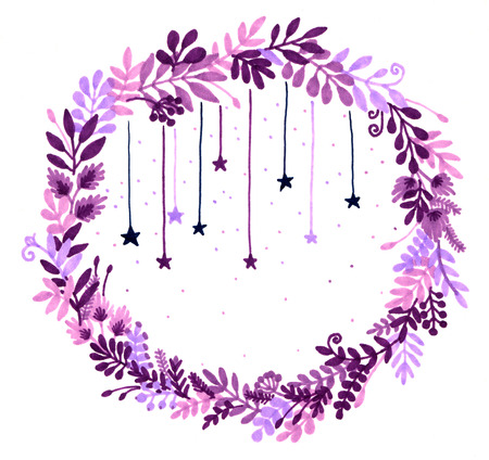 Watercolor illustration of a wreath of flowers and berries and magical stars. Summer print. Christmas wreath. soft blurred image
