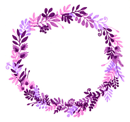 Watercolor illustration of a wreath of flowers and berries. Summer print. Christmas wreath. soft blurred image